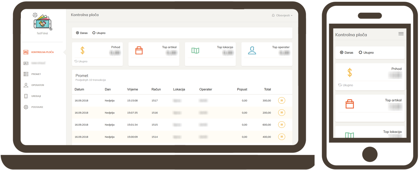 Project - FastFiskal, OtoTrak - billing, invoices web app